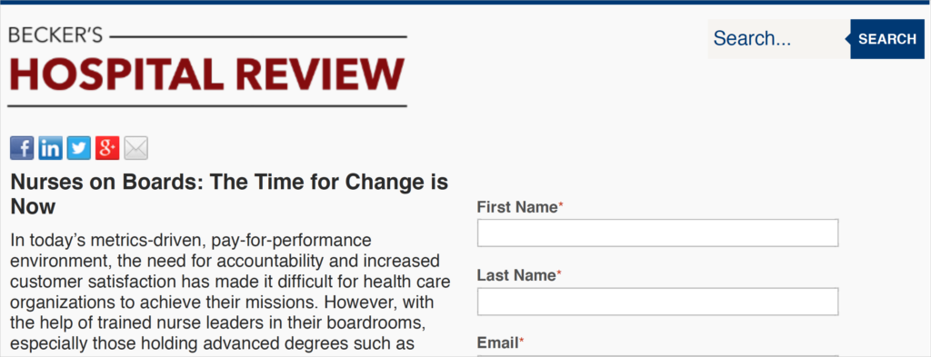 Nurses on Boards landing page